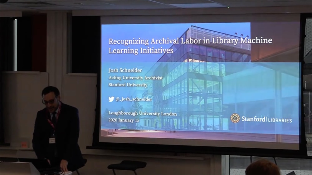 """Josh Schneider – Keynote Speech, """"Archives, Access and AI"""" conference"""